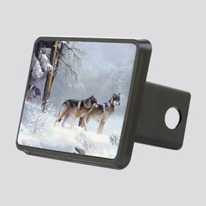 Pack Of Wolves During Winter Rectangular Hitch Cov