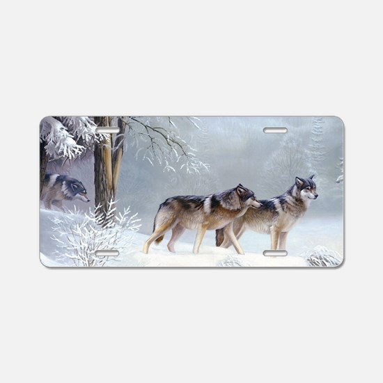 Pack Of Wolves During Winter Aluminum License Plat