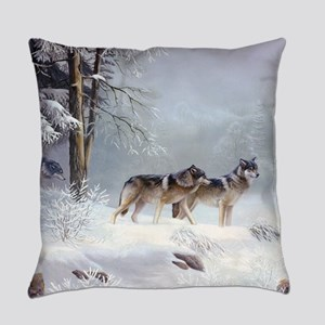Pack Of Wolves During Winter Everyday Pillow