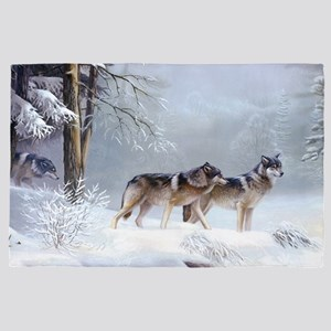 Pack Of Wolves During Winter 4' x 6' Rug