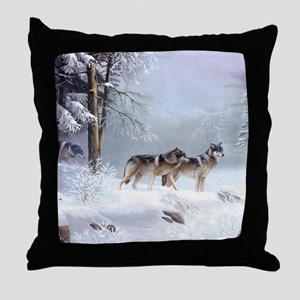 Pack Of Wolves During Winter Throw Pillow