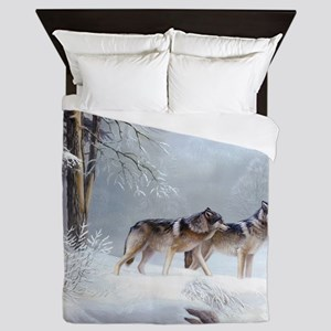Pack Of Wolves During Winter Queen Duvet