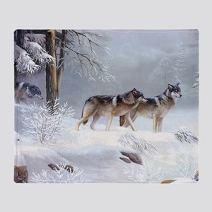 Pack Of Wolves During Winter Throw Blanket