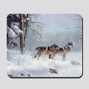 Pack Of Wolves During Winter Mousepad