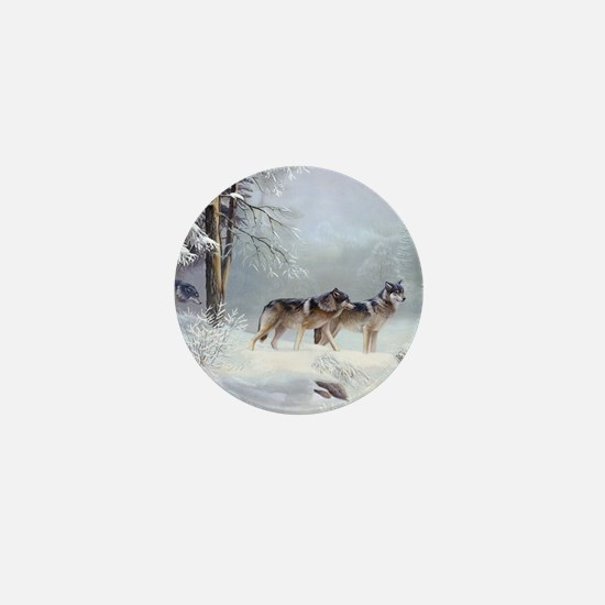 Pack Of Wolves During Winter Mini Button