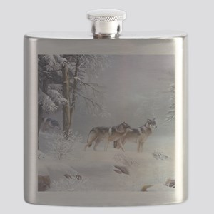 Pack Of Wolves During Winter Flask