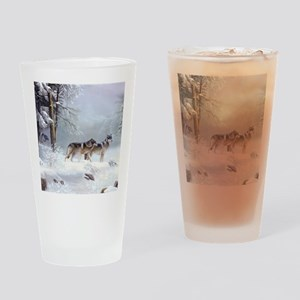 Pack Of Wolves During Winter Drinking Glass