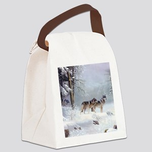 Pack Of Wolves During Winter Canvas Lunch Bag