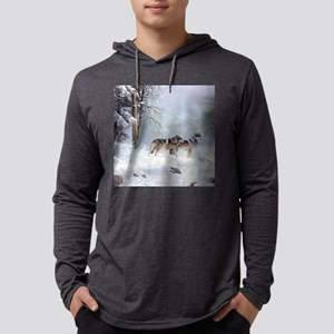 Pack Of Wolves During Winter Long Sleeve T-Shirt