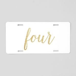 Glitter Four Aluminum License Plate