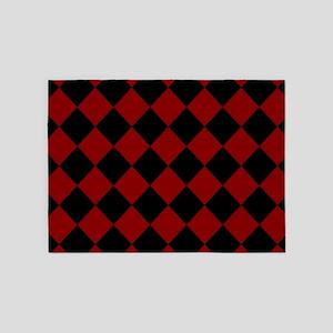 Red and Black Check / Diamond 5'x7'Area Rug