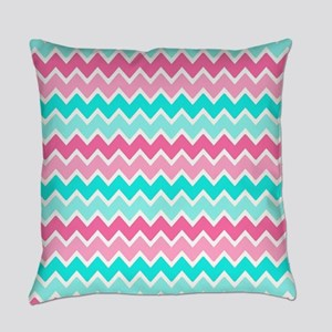 Hot Pink Turquoise Blue Ombre Chev Everyday Pillow
