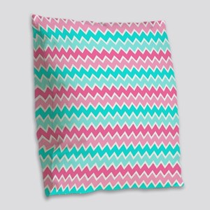 Hot Pink Turquoise Blue Ombre  Burlap Throw Pillow