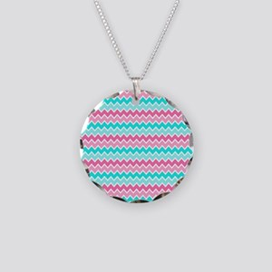 Hot Pink Turquoise Blue Ombr Necklace Circle Charm