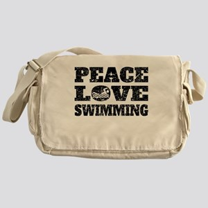 Peace Love Swimming (Distressed) Messenger Bag