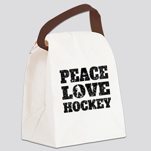 Peace Love Hockey (Distressed) Canvas Lunch Bag