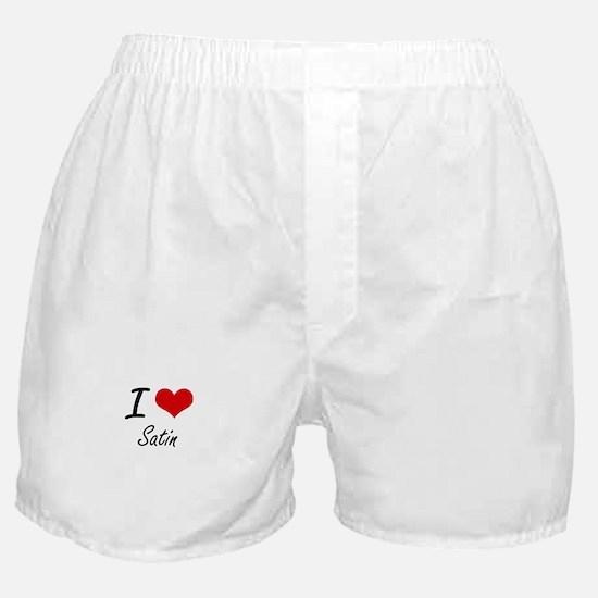 I Love Satin Boxer Shorts