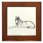 Resting Wolf Framed Tile