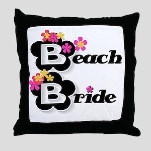 Black & White Beach Bride Throw Pillow