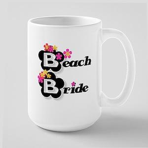 Black & White Beach Bride Large Mug
