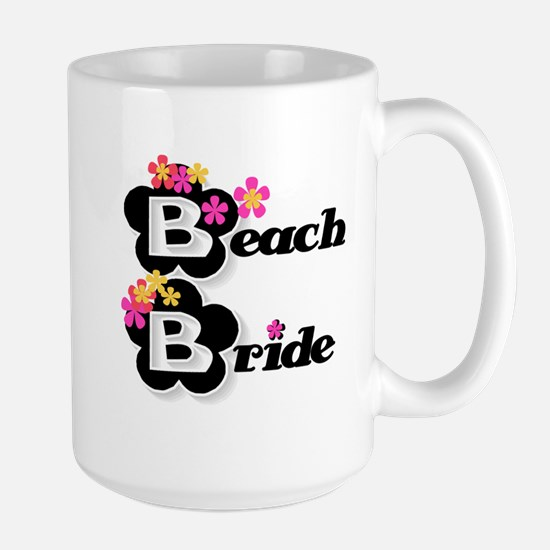 Black & White Beach Bride Large Mug