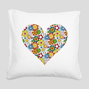 Flower-Heart Square Canvas Pillow