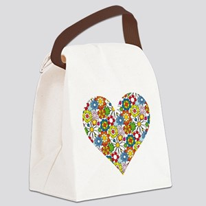Flower-Heart Canvas Lunch Bag