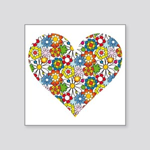 "Flower-Heart Square Sticker 3"" x 3"""