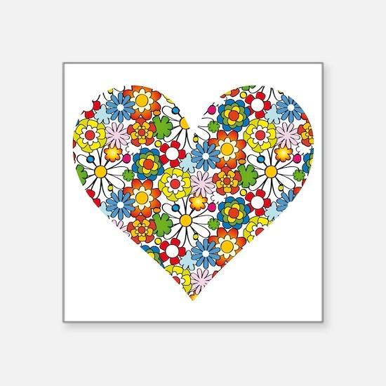 "Flower-Heart Square Sticker 3"" x 3"""