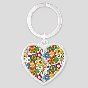 Flower-Heart Heart Keychain