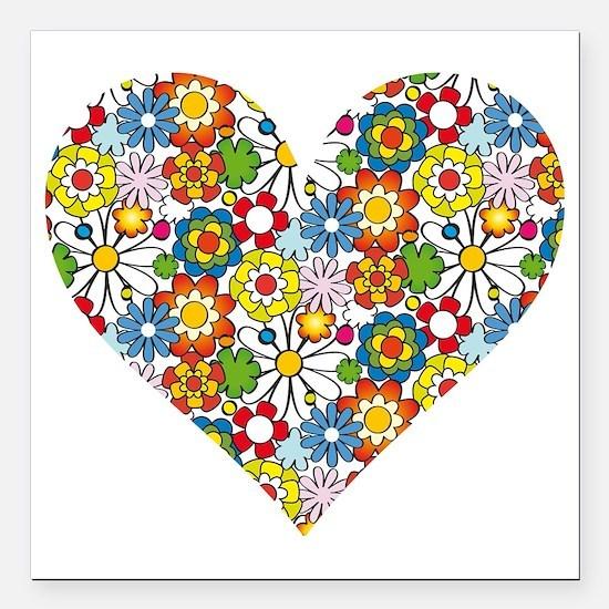"Flower-Heart Square Car Magnet 3"" x 3"""