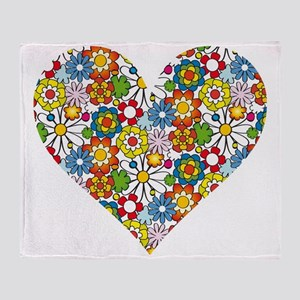 Flower-Heart Throw Blanket
