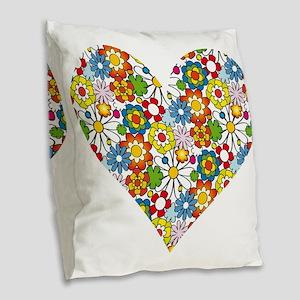 Flower-Heart Burlap Throw Pillow