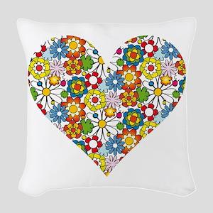 Flower-Heart Woven Throw Pillow