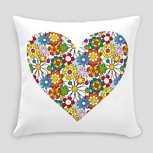 Flower-Heart Everyday Pillow
