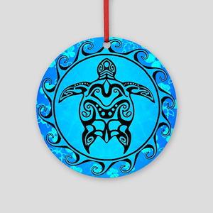 Black Tribal Turtle And Flower Pattern Round Ornam