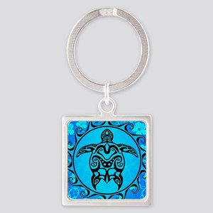 Black Tribal Turtle And Flower Pattern Keychains