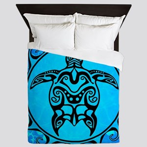 Black Tribal Turtle And Flower Pattern Queen Duvet