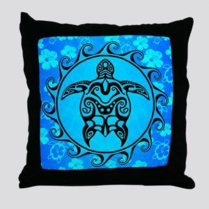 Black Tribal Turtle And Flower Pattern Throw Pillo