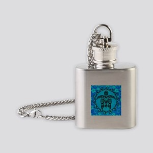 Black Tribal Turtle And Flower Pattern Flask Neckl