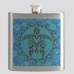 Black Tribal Turtle And Flower Pattern Flask