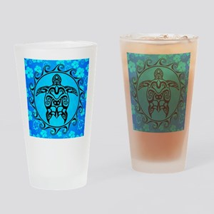 Black Tribal Turtle And Flower Pattern Drinking Gl