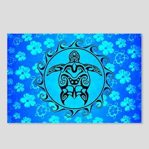 Black Tribal Turtle And Flower Pattern Postcards (