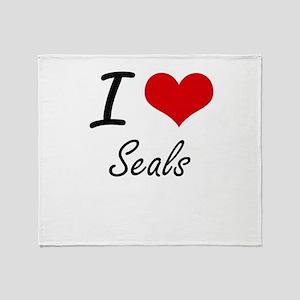 I Love Seals Throw Blanket