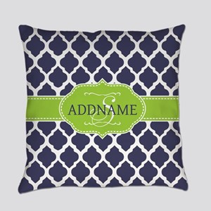 Navy Blue and White Quadrefoil Pat Everyday Pillow