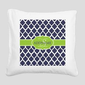 Navy Blue and White Quadrefoi Square Canvas Pillow