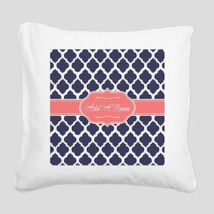 Navy Blue Quatrefoil Coral Pe Square Canvas Pillow
