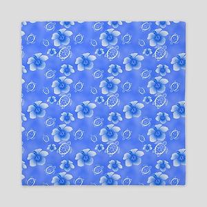 Blue Honu And Hawaiian Flowers Pattern Queen Duvet