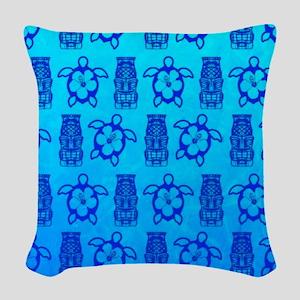 Blue Honu And Tiki Mask Woven Throw Pillow