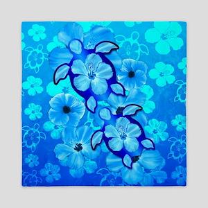 Blue Hibiscus Flowers And Sea Turtles Queen Duvet